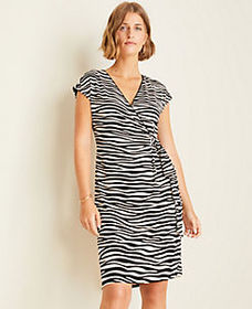 Zebra Print Matte Jersey Wrap Dress