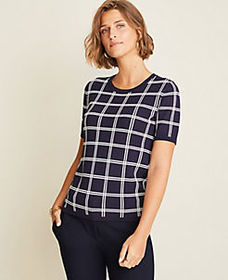 Plaid Seasonless Yarn Sweater Tee