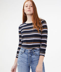 Aeropostale Long Sleeve Seriously Soft Striped Top