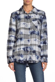 C & C California Tie-Dye Plaid Button Front Shirt