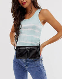 Pieces double front pocket cross body bag