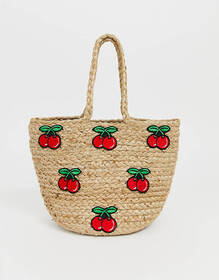 Glamorous rustic straw tote with cherry print