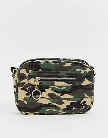 New Look camo camera bag in green pattern
