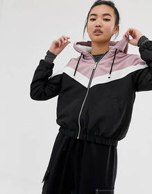 New Look fleece lined zip up jacket in pink and bl