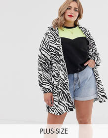 Brave Soul Plus rain mac in zebra print with hood