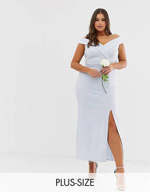 Club L Plus bridesmaid bardot detail maxi dress