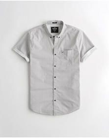 Hollister Stretch Poplin Slim Fit Shirt, WHTIE PAT