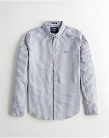 Hollister Stretch Oxford Muscle Fit Shirt, BLUE ST