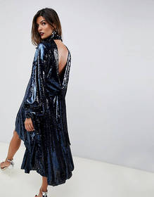 ASOS EDITION drape sequin midi dress with open bac