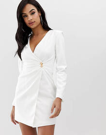 Club L crepe wrap front button detail dress