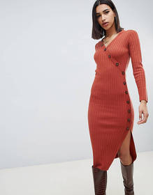 ASOS DESIGN dress in rib knit with button detail