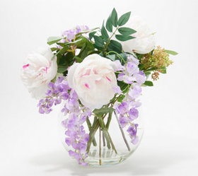 """As Is"" Peonies and Wisteria Floral Arrangement by"