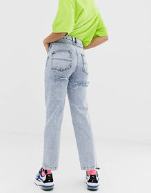 COLLUSION x005 straight leg jeans in acid wash wit