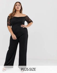 Club L Plus crochet sleeve jumpsuit