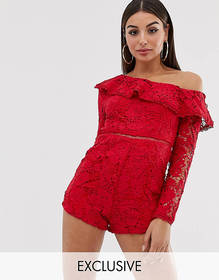 Missguided lace romper with one shoulder in red