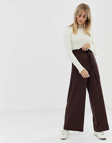 ASOS DESIGN wide leg pants with paperbag waist