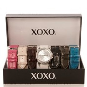 XOXO Womens Crystal Silver Watch & Croc Band 7-Pie