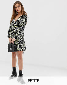 New Look Petite wrap mini dress in zebra print