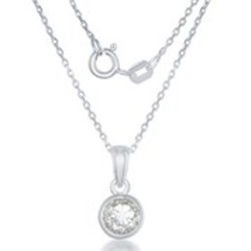 "ELAN Genuine White Topaz Necklace with 18"" Sterlin"