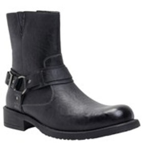 Mens Leather Buckled Boots
