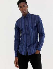 Moss London skinny fit shirt with bold navy stripe