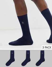 French Connection 3 pack plain logo socks