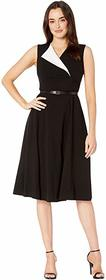 Calvin Klein CK Logo Belted Lux Dress with Fold-Ov
