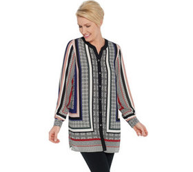 """""""As Is"""" Susan Graver Printed Woven Button- Front T"""