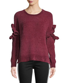 Romeo & Juliet Couture Ruffle Sleeve Chenille Pull