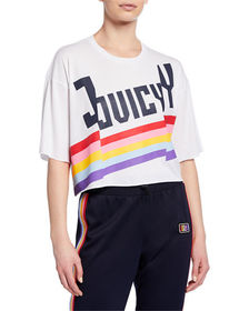 Juicy Couture Cropped Rainbow Logo T-Shirt