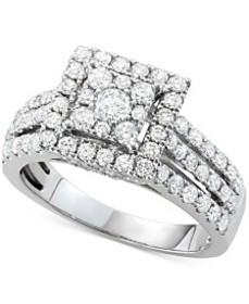Diamond Square Halo Cluster Engagement Ring (1-1/2