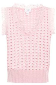 GIAMBATTISTA VALLI Lace-trimmed open-knit wool-ble