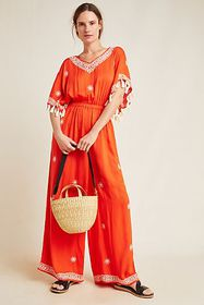 Anthropologie Palmas Embroidered Jumpsuit