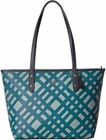 COACH Wild Plaid City Zip Tote