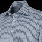 Blue and White Slim Fit Henry Check Men's Shirt -