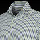 Green and Blue Gladstone Stripe Men's Shirt - Doub