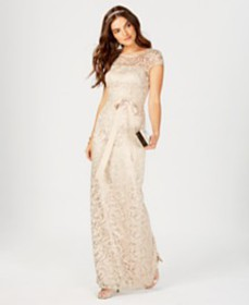 Adrianna Papell Cap-Sleeve Illusion Lace Gown