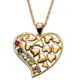 Gold Over Sterling Family Floating Hearts Birthsto
