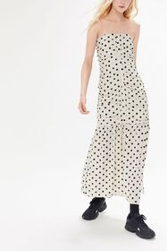 UO Camille Ruched Strapless Midi Dress