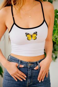 Truly Madly Deeply Contrast Trim Cropped Tank Top