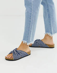 London Rebel stripe flat sandals