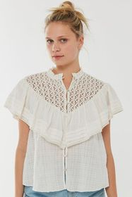 UO Bluebell Ruffle Button-Down Blouse