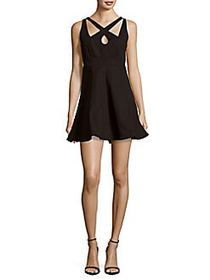 Halston Sleeveless Fit-&-Flare Dress BLACK