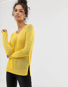 Brave Soul v neck summer sweater in yellow