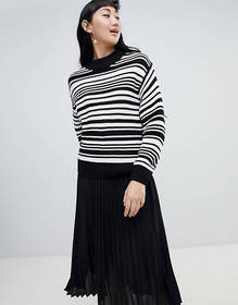 Monki textured crew neck stripe sweater in black a