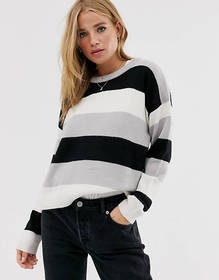 Brave Soul Grunge Round Neck Sweater in color bloc