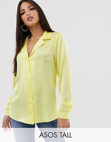 ASOS DESIGN Tall relaxed satin long sleeve shirt
