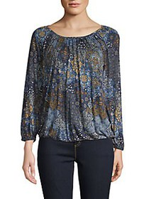 MICHAEL Michael Kors Printed Long-Sleeve Top NAVY