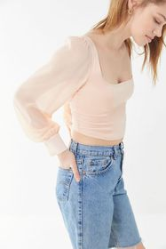 UO Lena Sheer Sleeve Square Neck Cropped Blouse