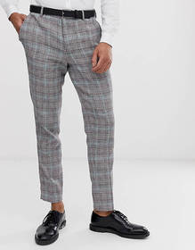 Selected Homme tapered suit pants in check cotton